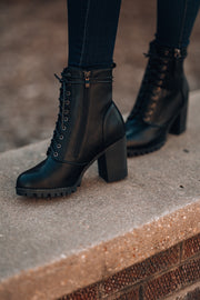 Rebel Lace Up Boot (Black)
