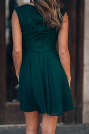 Stay With Me Chiffon Mini Dress (Forest)