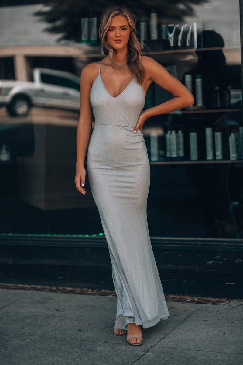 This Is Love Glitter Gown (Silver) - FINAL SALE