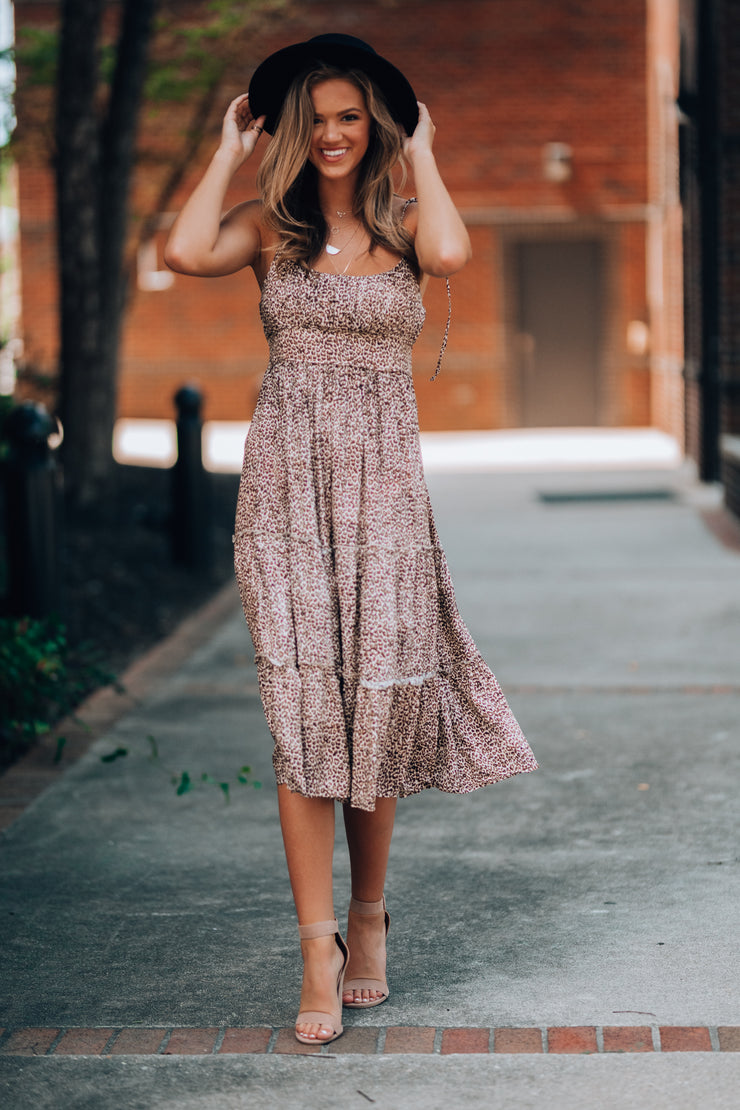 Fiesty Leopard Midi Dress