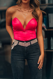Deep V Satin Bodysuit (Hot Pink)
