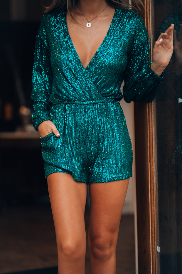 Best Dressed Sequin Romper (Emerald)