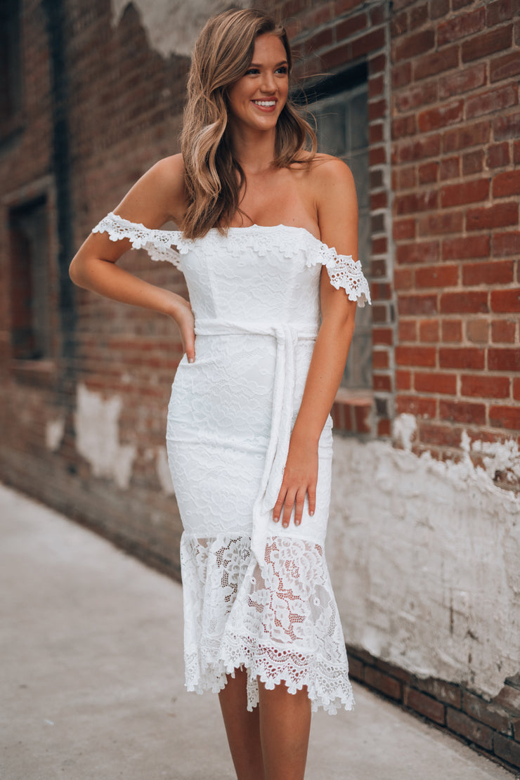 Santa Maria Lace Dress (White)