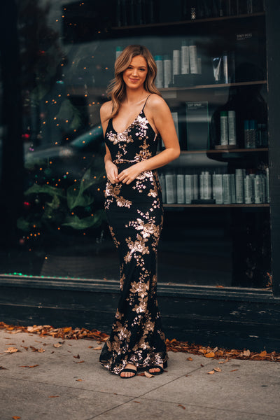 Midnight Magic Sequin Gown (Black/Gold)