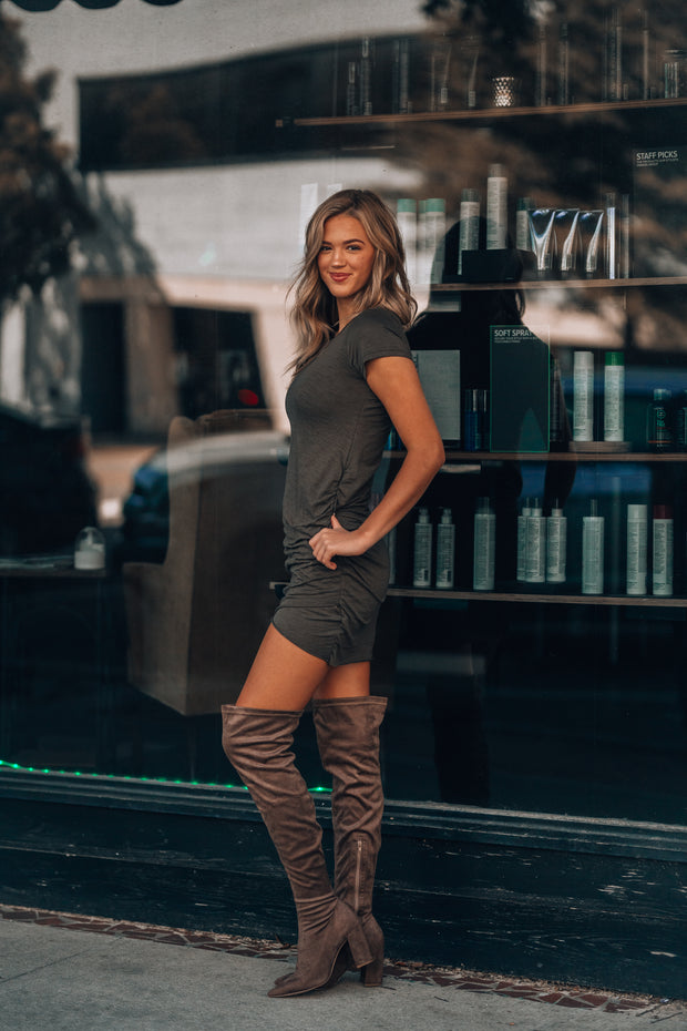 Errands Ruched Mini Dress (Olive) PRE-ORDER Ships Mid November