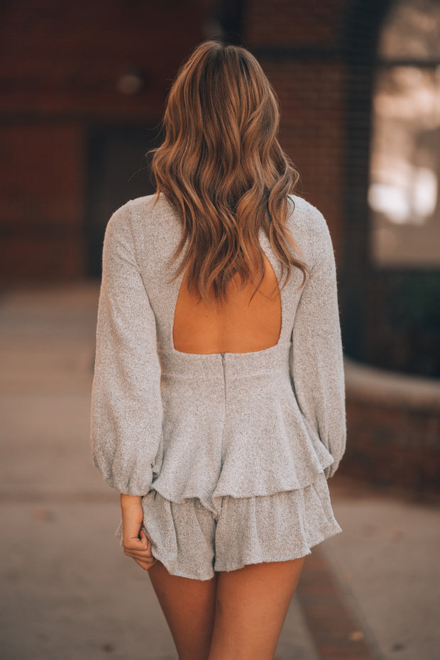 Ellie Sweater Ruffle Romper (Heather Grey) PRE-ORDER Ships Mid December