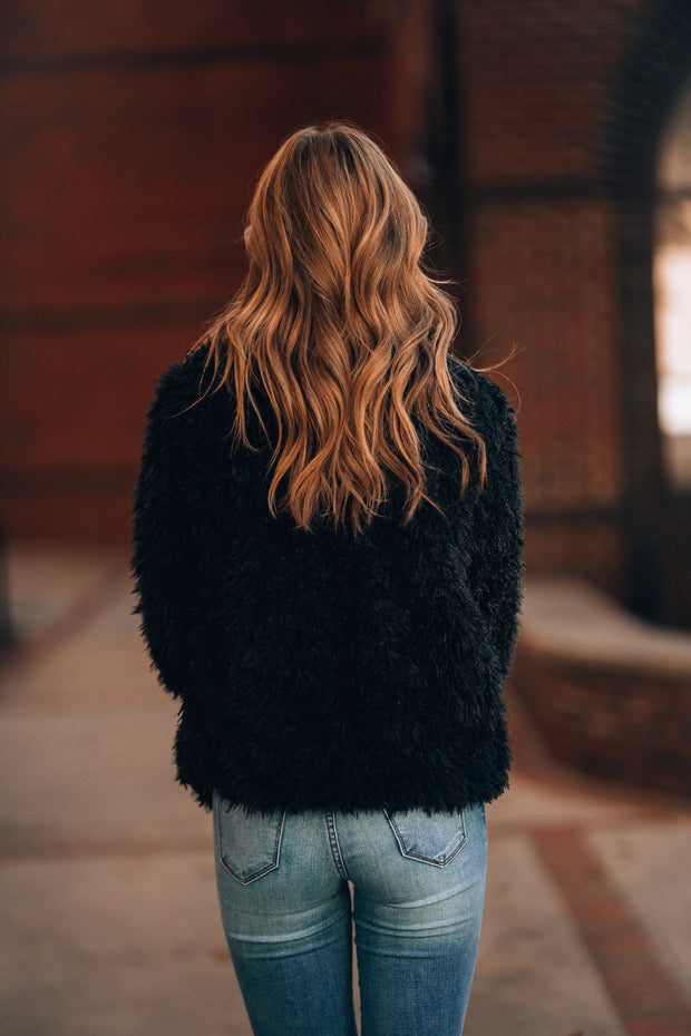 Aria Faux Fur Jacket (Black)