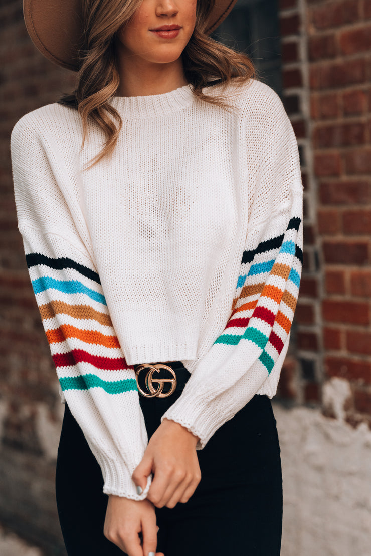 I've Got Sunshine Striped Crop Sweater