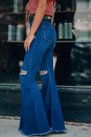 Rodeo Distressed Bell Bottoms (Dark Wash)