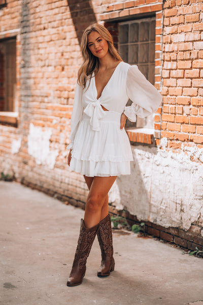 Jacey Peasant Dress (White)