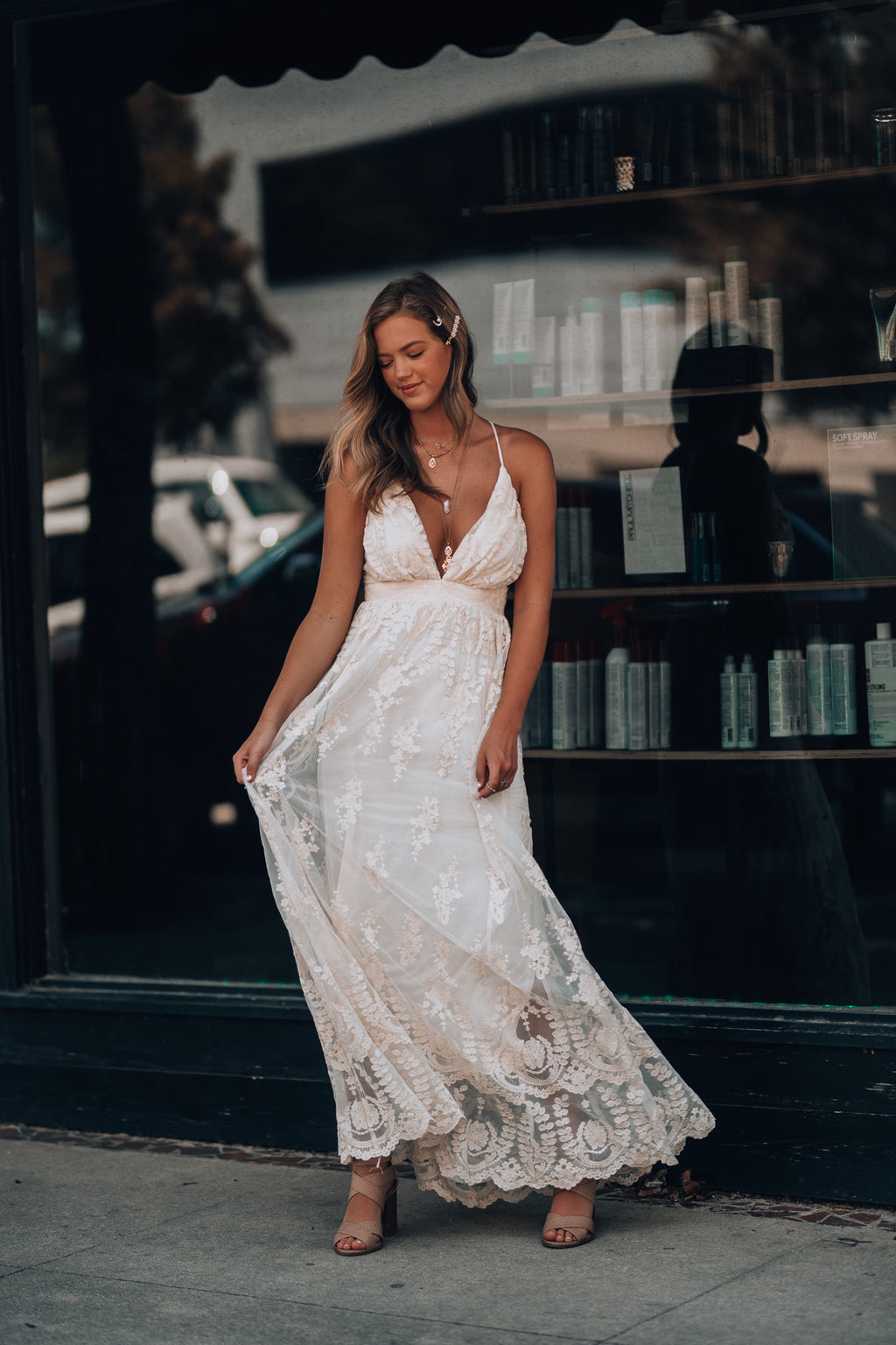 Summer Nights Lace Gown (Cream)