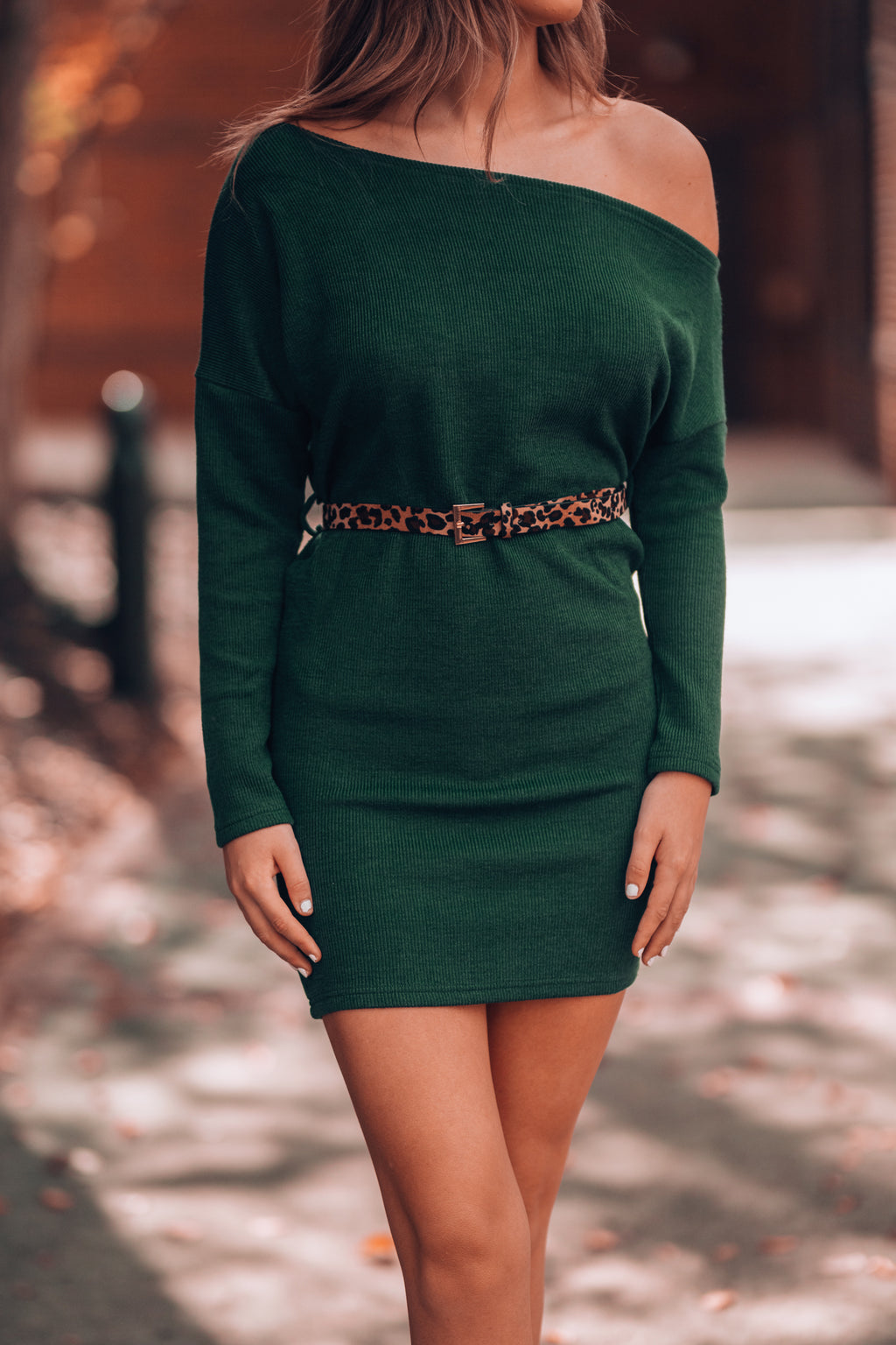 Dylan Off Shoulder Sweater Dress (Forest)
