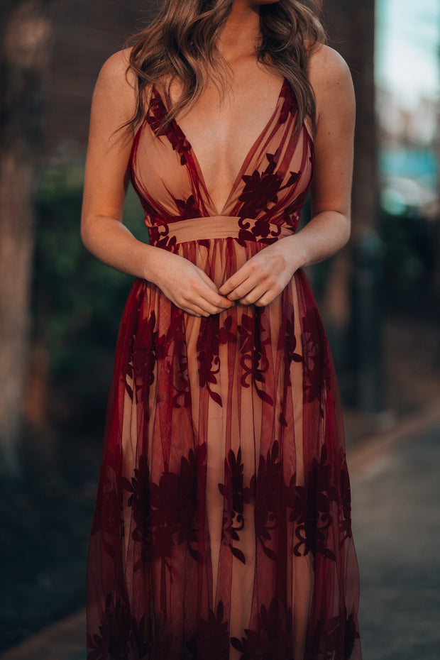 All My Love Maxi Gown (Wine/Nude)