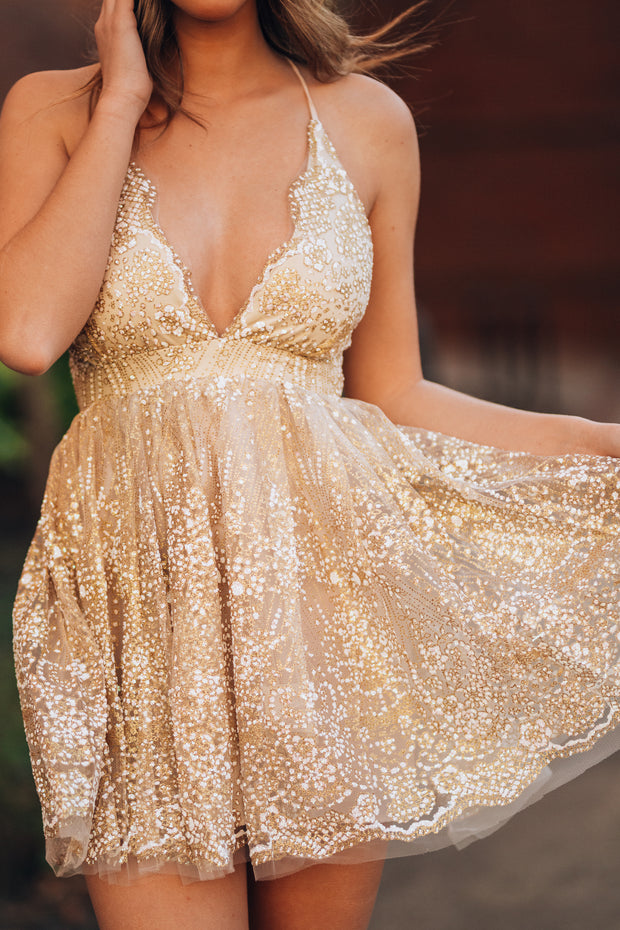 Over The Moon Glitter Mini Dress (Champagne)