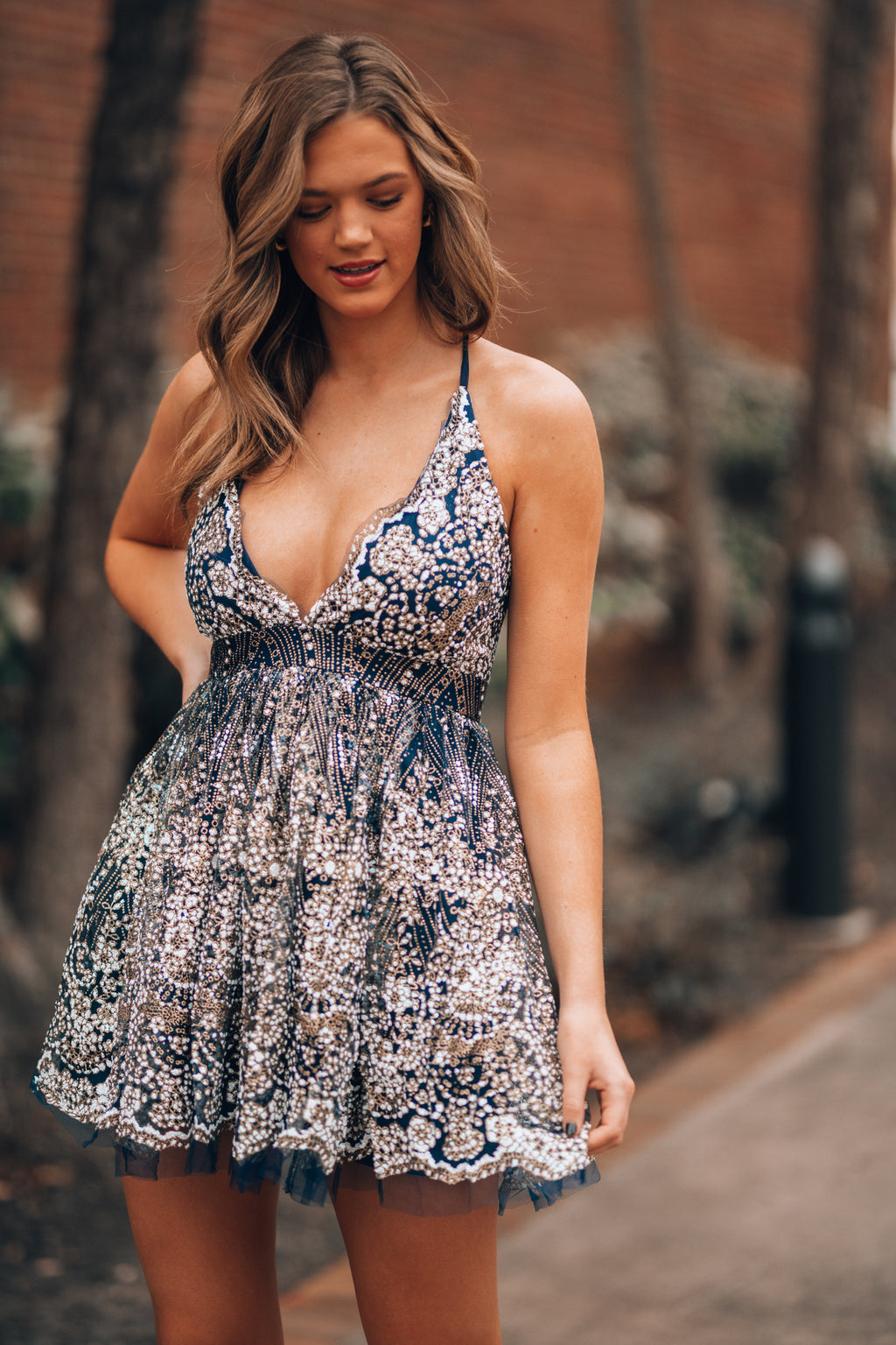 Over The Moon Glitter Mini Dress (Navy) - FINAL SALE