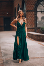 Slow Moves Ruffle Gown (Forest)