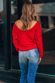 Isabella Reversible Twist Sweater (Red)