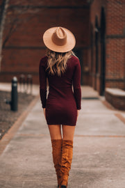 Hey There Plum Ribbed Sweater Dress (Plum)