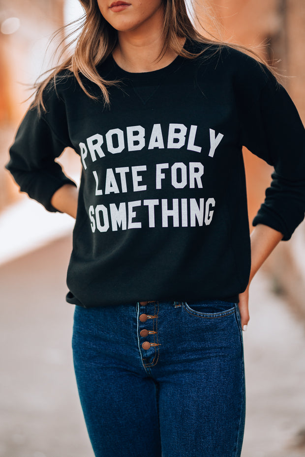 Probably Late For Something Sweater (Vintage Black)