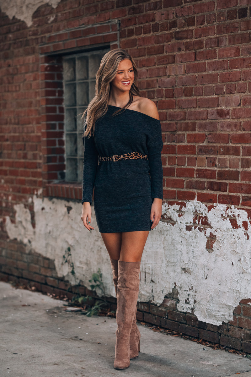 Dylan Off Shoulder Sweater Dress (Dark Grey)