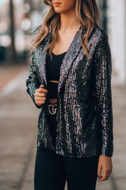Good Fortune Sequin Blazer (Black)