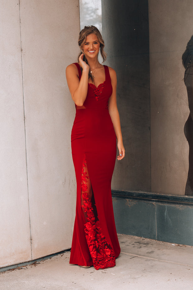 Long Time Love Lace Gown (Wine)