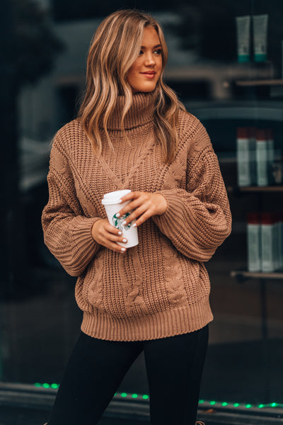 Obsessed Turtleneck Sweater (Caramel)
