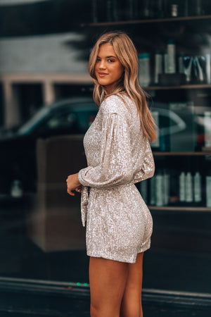 Best Dressed Sequin Romper (Beige)