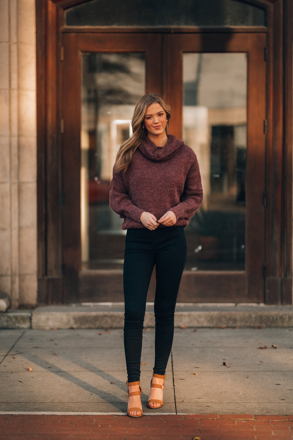 Cozy By The Fire Cowl Neck Sweater (Plum) - FINAL SALE