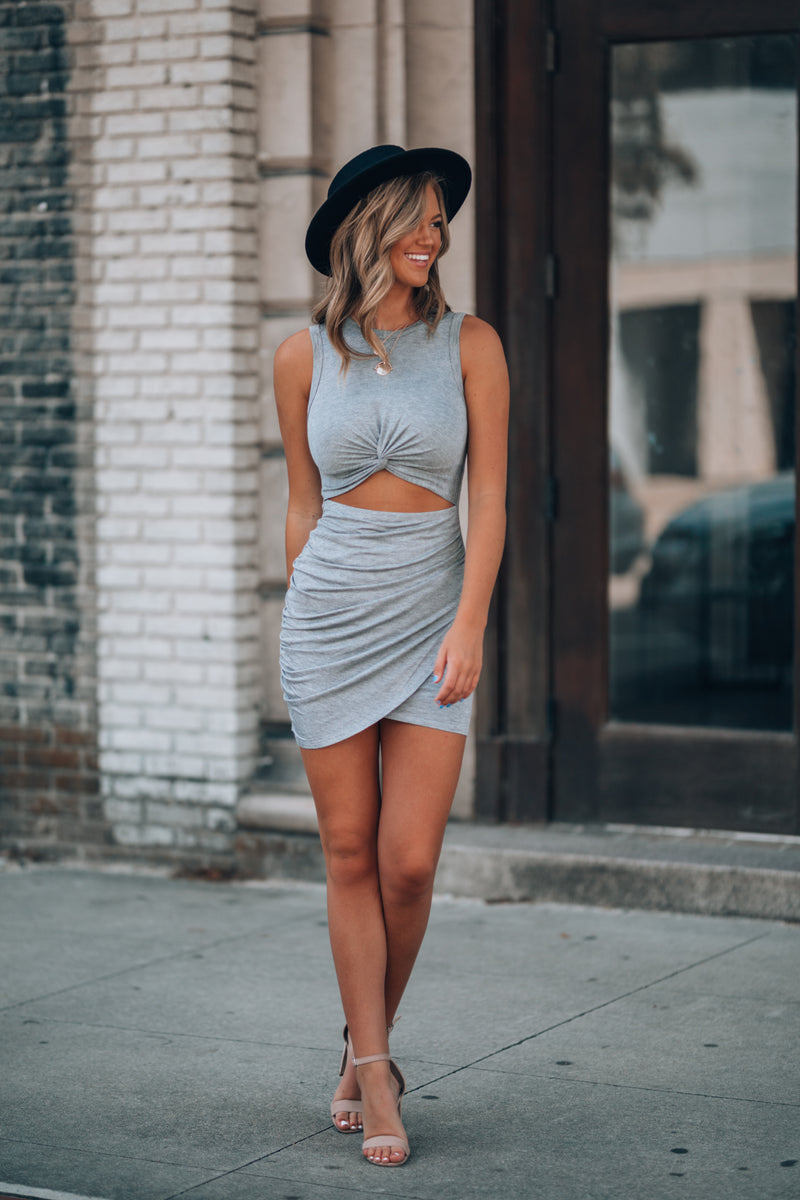 Amoret Twist Dress (Heather Grey)