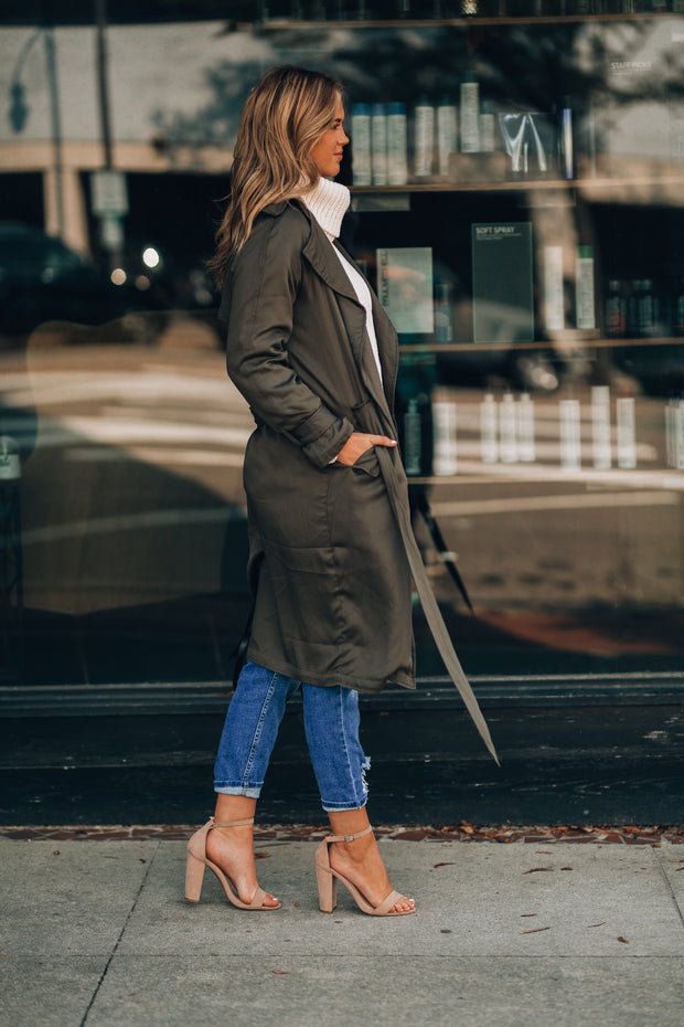 City Slicker Trench Coat (Olive)