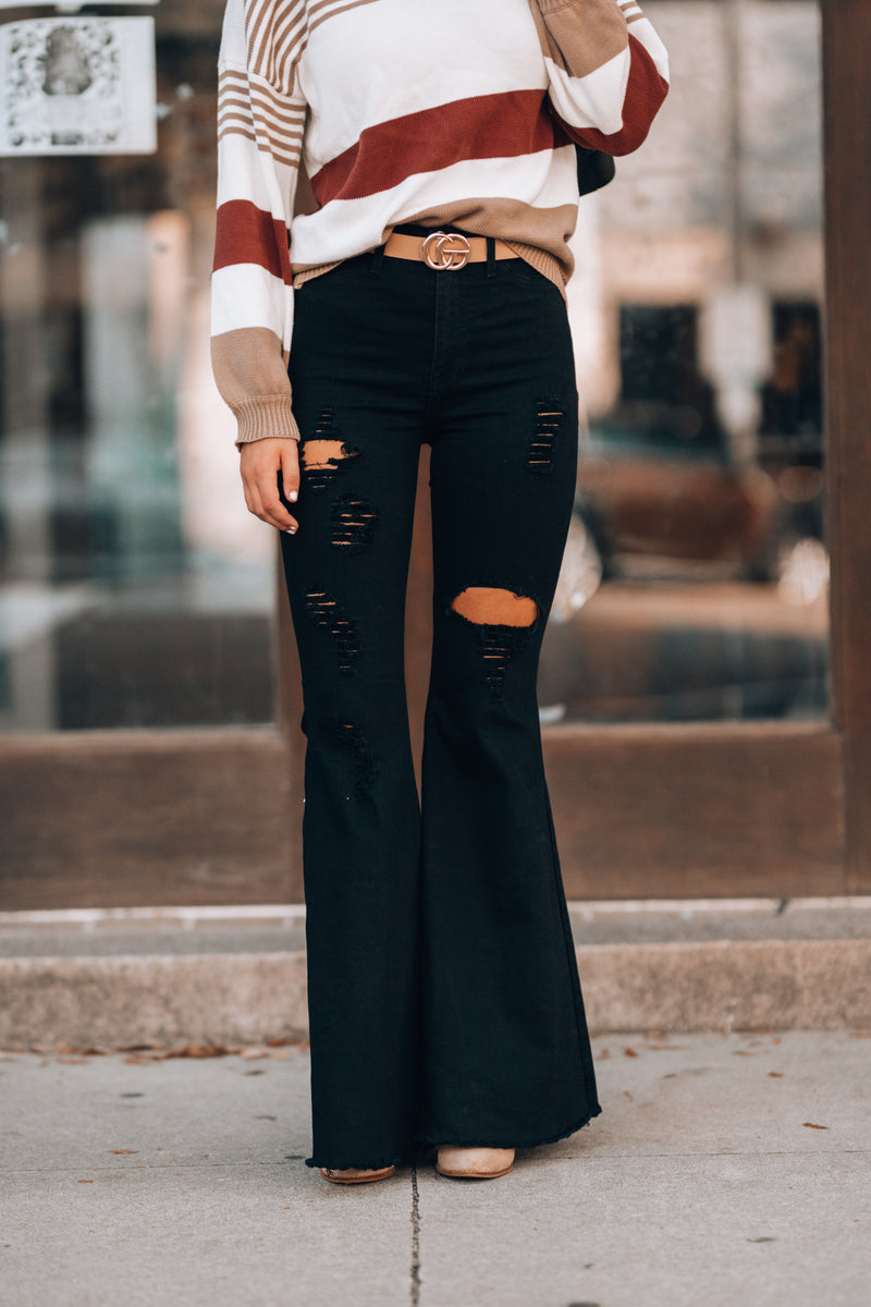 Rodeo Distressed Bell Bottoms (Black)