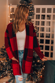 Merry + Bright Plaid Cardigan (Red)