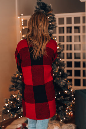 Merry + Bright Plaid Cardigan (Red) - FINAL SALE