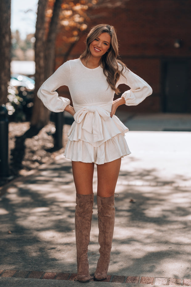 Ellie Sweater Ruffle Romper (Cream) PRE-ORDER Ships Mid December
