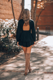 Ellie Sweater Ruffle Romper (Black)