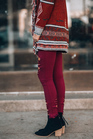 Mile High Distressed Skinny Jeans (Burgundy)
