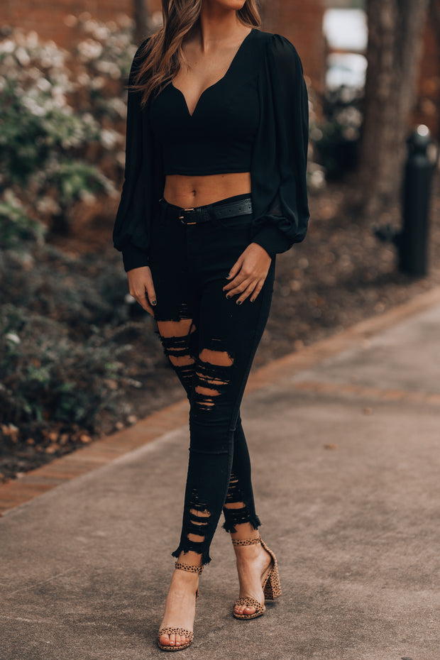 All Night Long Crop Top (Black)