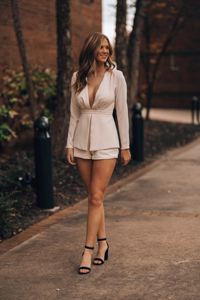 Down To Business Romper (Cream)