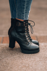 Piper Lace Up Booties (Black)