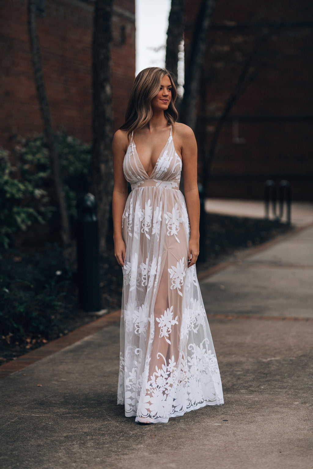 All My Love Maxi Gown (White/Nude)
