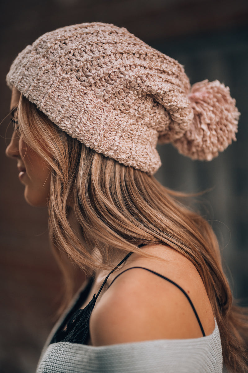 Snowed In Pom Beanie (Blush) - FINAL SALE