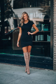 Errands Ruched Mini Dress (Black) PRE-ORDER Ships Mid November