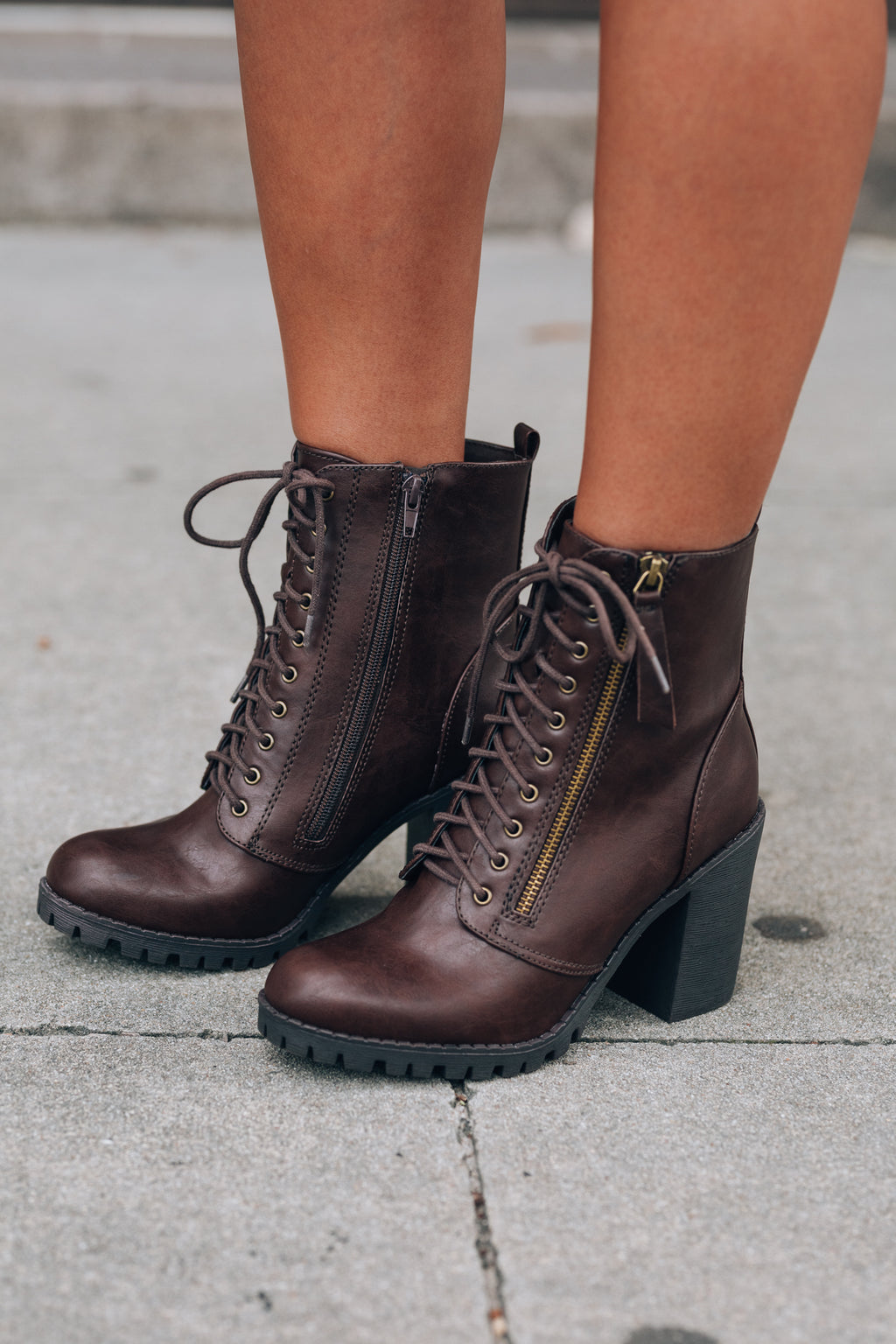 Rebel Lace Up Boot (Brown)