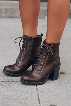 Rebel Lace Up Boot (Brown) - FINAL SALE