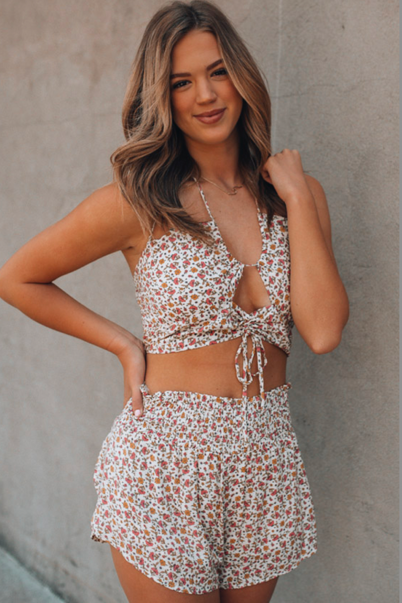Morning Glory Floral Short Set