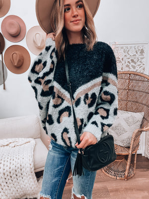 Moriah Leopard Fuzzy Sweater (Grey Mix)