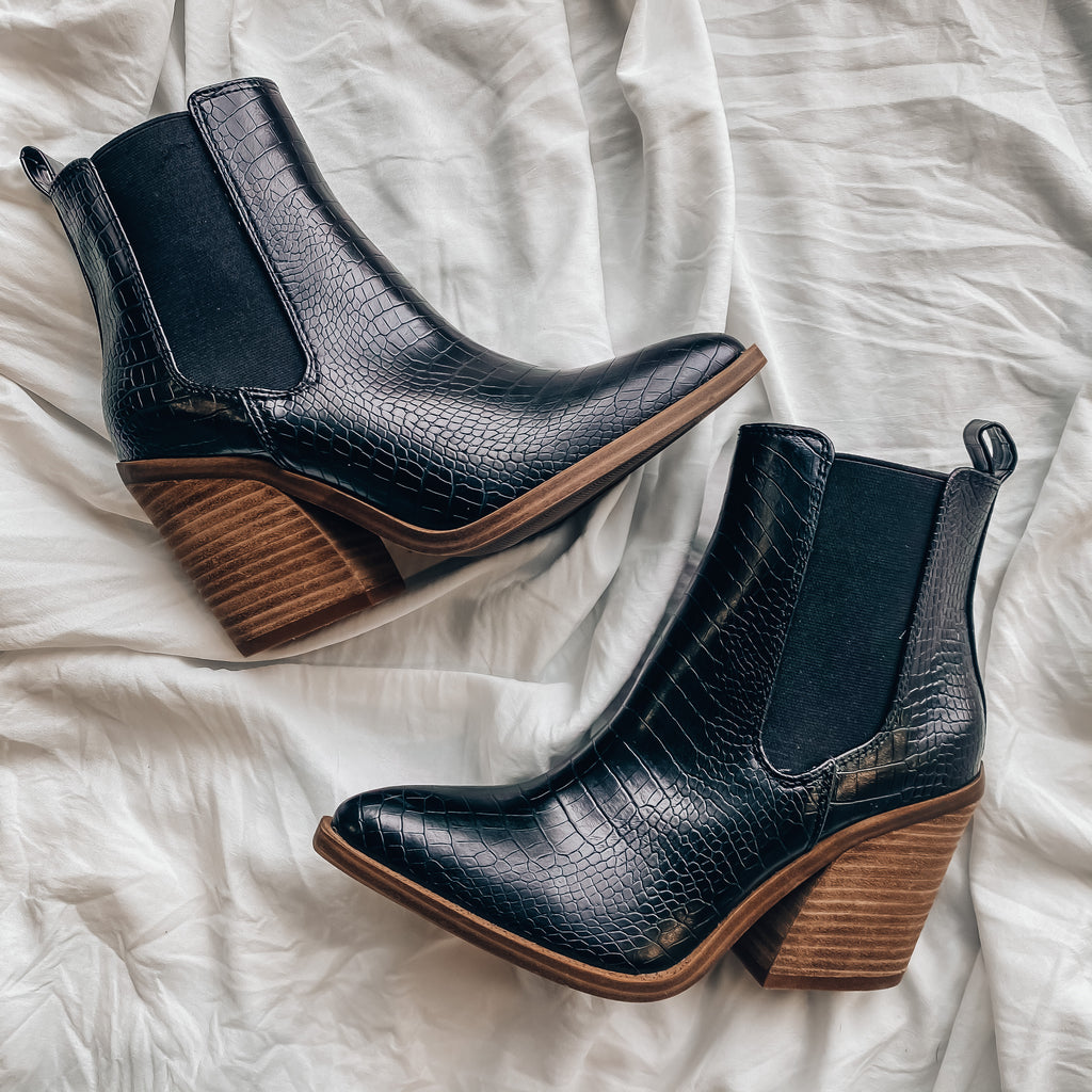 Walk This Way Booties (Crocodile Black)