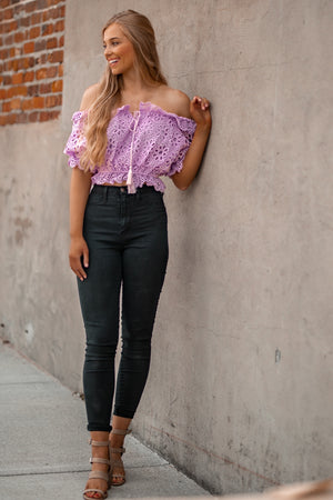 Amazing Lace Crop Top (Lilac)
