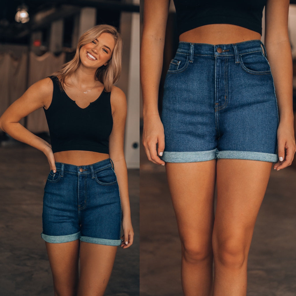 Roll With It Denim Shorts (Dark Wash)